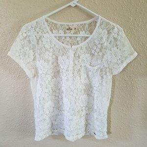 Hollister Sheer Lace Popover Top M Ruffle Button